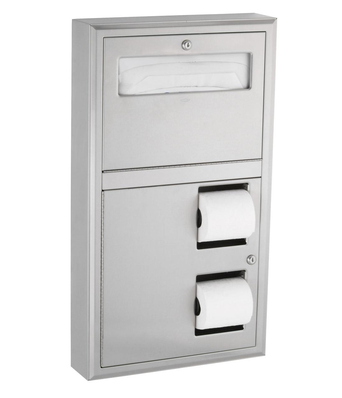 Bobrick B3479 Toilet Paper Holder Toilet Seat Cover Dispenser