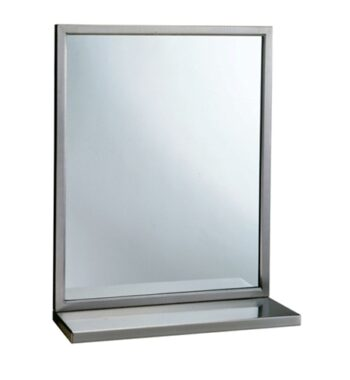 "Bobrick B-292 1830 Mirror with Stainless Steel Angle Frame and Shelf 18"" x 30"""