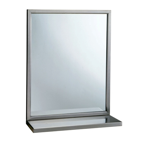 "Bobrick B-292 1836 Mirror with Stainless Steel Angle Frame and Shelf 18"" x 36"""