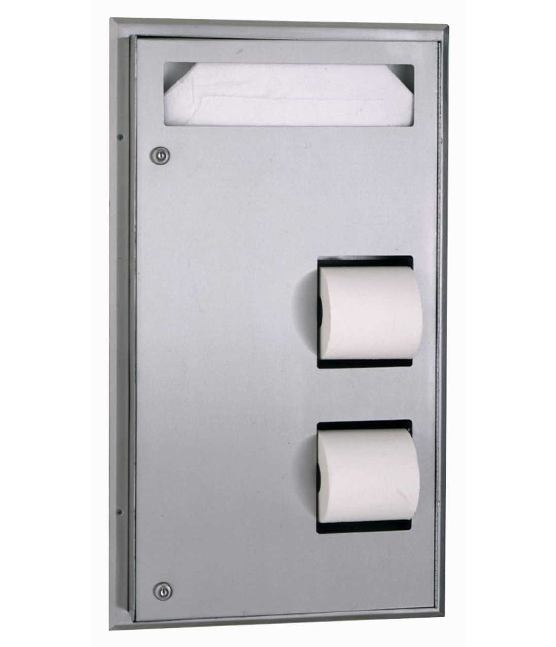 Bobrick B-347 Partition Mounted Seat Cover Dispenser and Toilet Tissue Dispenser