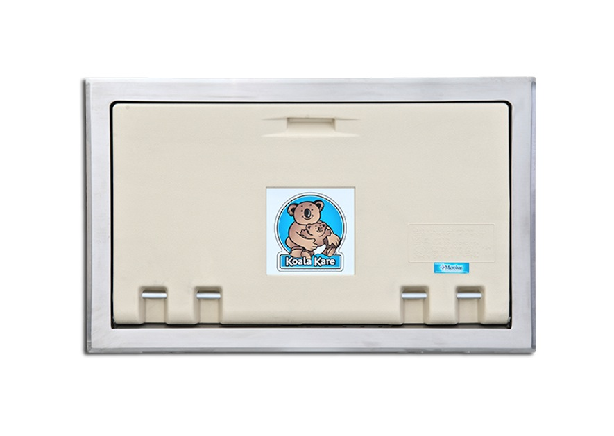 Koala Kare KB100-00ST Horizontal Recess Mounted Baby Changing Station w/ Stainless Steel Flange - Cream