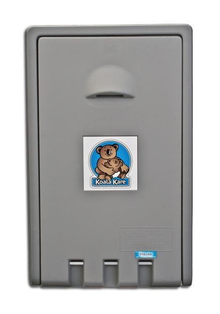 Koala Bear KB101-01 Vertical Wall-Mounted Baby Changing Station - Grey