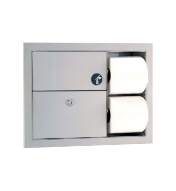 Gamco TSC-7 Recessed Sanitary Napkin Disposal and Toilet Tissue Dispenser