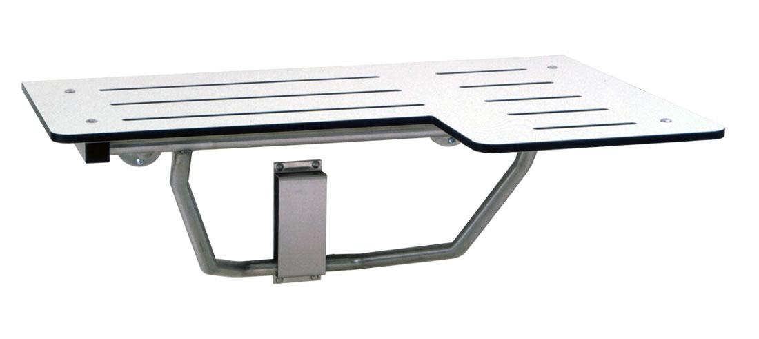 Gamco 5181 Reversible Hand Folding Shower Seat ADA - Ivory Phenolic